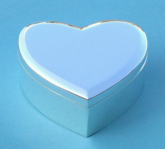 Engravable Large Nickel Plated Heart Shaped Jewelry Box