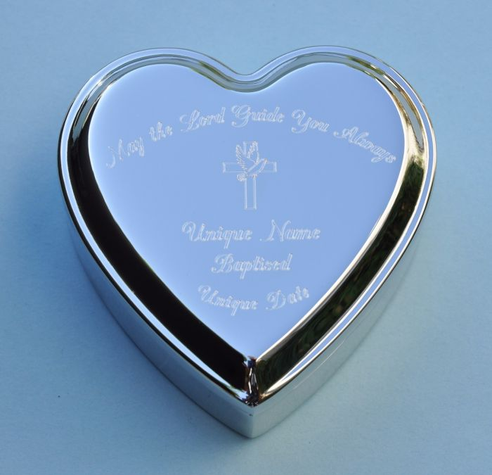 Engraved Heart Shaped Jewelry Box The LORD Will Guide You ALWAYS