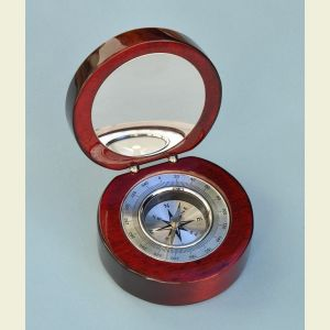 Aluminum Desk Compass in Round Mahogany Case