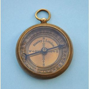 Engravable Antique Open Faced Brass Pocket Compass