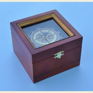 Nautical Compass Rose Clock in Wooden Box