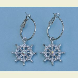 Ship's Wheel Rhinestone Earrings