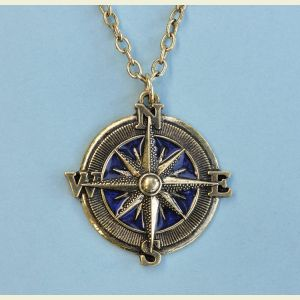 Antique Blue Compass Rose Pendant with Chain