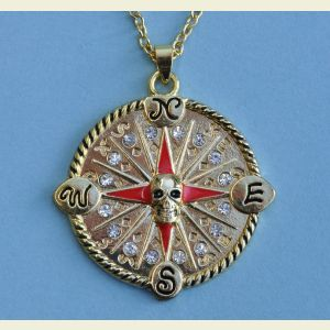 Pirate Skull Compass Rose Pendant with Chain