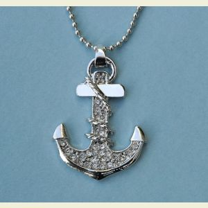 Nautical Anchor Pendant with Rhinestones and Beaded Chain