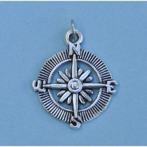 Silver Plated Tibetan Compass Rose Pendant