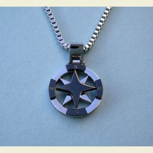 Stainless Steel Black Compass Rose Pendant with Chain