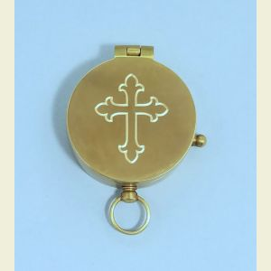 Antique Medium Brass Pocket Compass Engraved (Large Cross)
