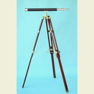 Engravable 30-inch Leather Sheathed Harbormaster Brass Telescope on Hardwood Tripod