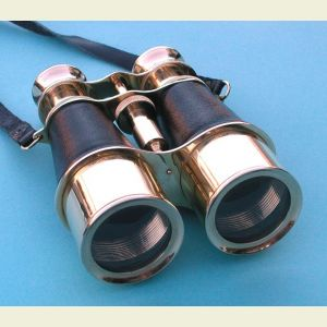 Antique Brass Binoculars with Leather Case
