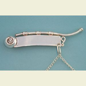 Silver Plated British Boatswain's Pipe with Chain