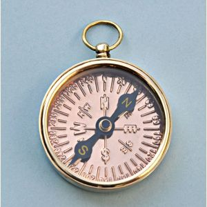 Engravable Open Faced Brass Pocket Compass with Copper Compass Rose