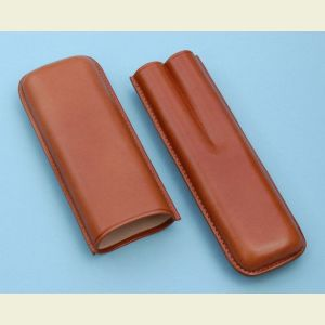 Brown Leather Double Cigar Holder