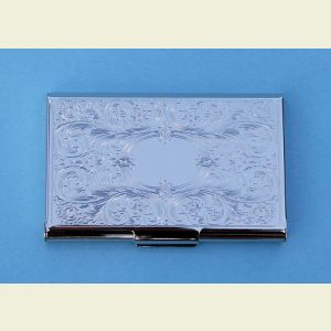 Engravable Embossed Scroll Silver Plated Card Case