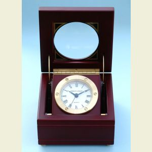 Engravable Boxed Quartz Clock in Satin Finish Mahogany Case