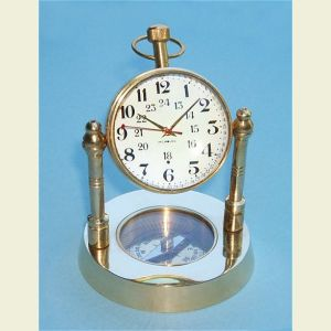 Engravable Brass Spherical Desk Clock with Compass