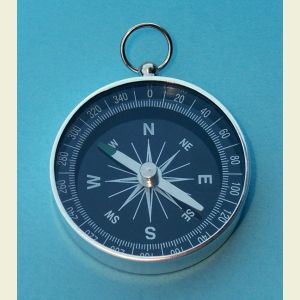 Open Face 1 3/4 inch Aluminum Pocket Compass with Black Face