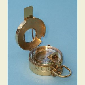 Engravable British Prismatic Brass Pocket Compass