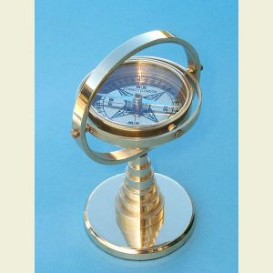 Engravable Large Gimbaled Brass Desk Stand Compass