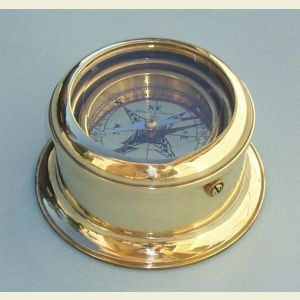 Engravable Round Gimbaled Brass Desk Compass
