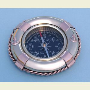 Engravable Life Ring Buoy Brass Paperweight Compass