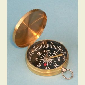 Engravable Brass-Colored Lightweight Brass Pocket Compass