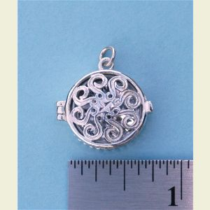 Engravable Classic Swirl Sterling Silver Compass Locket