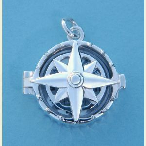 Engravable Compass Rose Sterling Silver Compass Locket