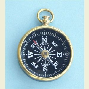 Engravable Polished Open Face Brass Pocket Compass