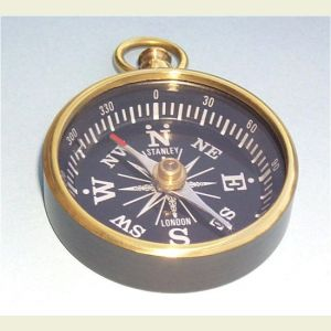 Black Powder Coated Open Face Brass Pocket Compass