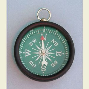 Open Face Aluminum Pocket Compass with Green Face