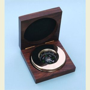 Brass Paperweight Compass with Hardwood Box