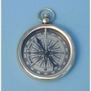 Engravable Open Faced Pocket Watch Style Brass Compass