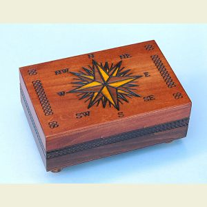 Secret Opening Compass Rose Chartography Box