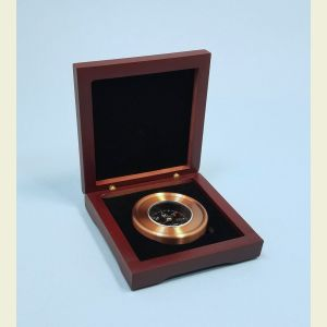 Luminescent Paperweight Compass in Hardwood Case