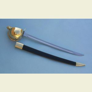 Naval Cutlass with Leather Scabbard