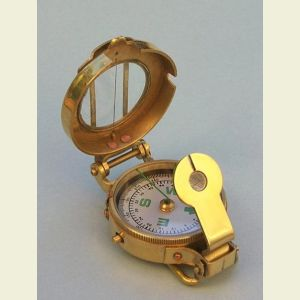 Engravable Polished Brass Engineering Lensatic Pocket Compass with Leather Case