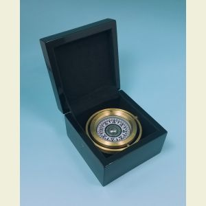 Executive Modern Brass Gimbaled Boxed Compass with Black Piano Finish