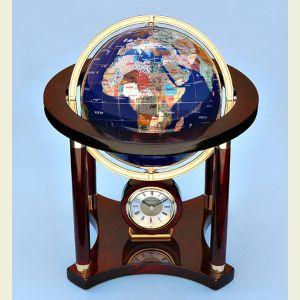 Large Gemstone Globe and Quartz Clock on Mahogany Stand
