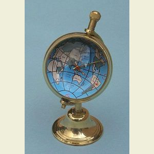 Brass Spherical Globe Desk Clock