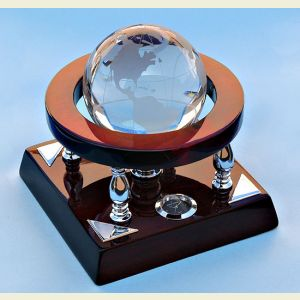 Engravable Mahogany Desk Clock with Crystal Globe