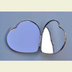 Engravable Heart Shaped Nickel Plated Compact Mirror