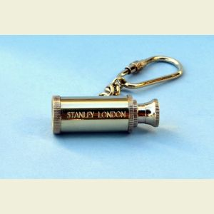 Brass Telescope Key Chain Engraved Stanley London