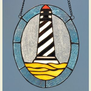 Cape Hatteras Lighthouse Oval Stained Glass Suncatcher