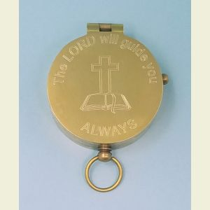 Antique Medium Brass Pocket Compass Engraved (The LORD Will Guide You ALWAYS)