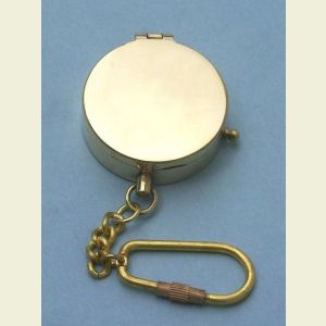 Engravable Antique Medium Brass Pocket Compass Key Chain