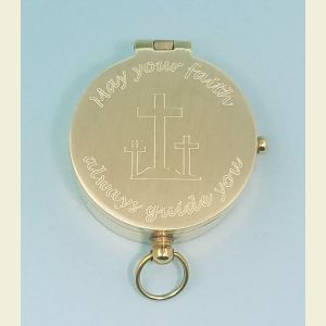 Brushed Medium Brass Pocket Compass Engraved (May Your Faith Always Guide You)