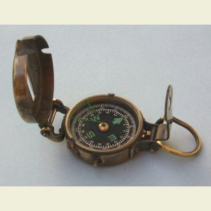 Engravable Antique Brass Military Lensatic Compass