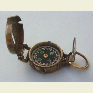 Engravable Antique Brass Military Lensatic Compass
