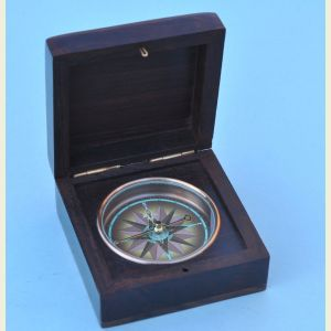 Engravable Rosewood Captain's Desk Compass